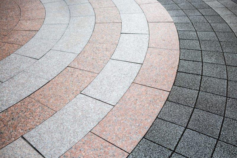a circular patio