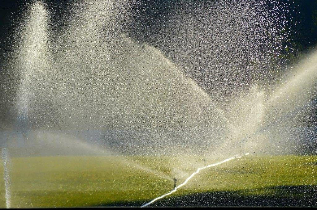 water sprayed by lawn irrigation system