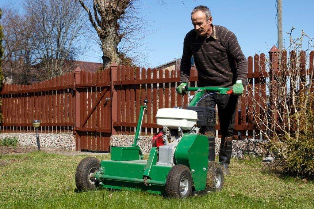 guy doing lawn aeration